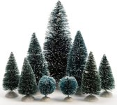 Kerstdorp Miniatuur Boompjes - 9 stuks