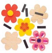 Baker Ross Houten bloemmagneten (10 stuks per verpakking) Knutselwerkjes met lentethema voor kinderen om te versieren en op te hangen