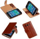 PU Leder Bruin Samsung Galaxy Core Plus Book/Wallet Case/Cover Hoesje