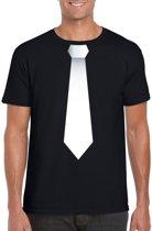 Zwart t-shirt met witte stropdas heren M
