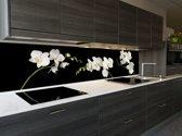 """Keuken achterwand behang: """"White Orchid"""" 400 x 70 cm"""