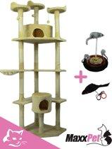 MaxxPet Kattenpaal - Katten krabpaal Vic 200cm - Beige + GRATIS LEUKE SPEELJES