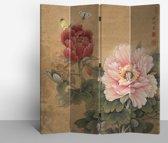 Orientique Kamerscherm 4 Panelen Mudan Vlinders Canvas Room Divider Scheidingswand