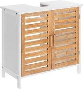 Wastafel onderkast met uitsparing - 30 x 60 x 60 cm (L x B x H) - Badkamermeubel staand van bamboe hout - Badkamerkast wit - Meubel / kastje / wastafelkast voor Badkamer - Decopatent®