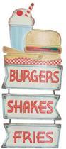 Signs-USA Burgers Shakes Fries - Retro Wandbord - Metaal - 72x29 cm