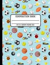 Composition Book Graph Paper 4x4: Trendy Sports Enthusiast Back to School Quad Writing Notebook for Students and Teachers in 8.5 x 11 Inches