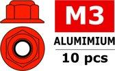 Team Corally - Aluminium zelfborgende zeskantmoer met flens - M3 - Rood - 10 st