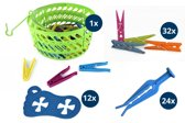 Wasknijper-voordeelpakket - Mandje met 36 wasknijpers - 24 Stormknijpers - 12 Sokkenknijpers - 32 knijpers assorti kleuren