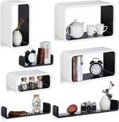 relaxdays 7-delige wandbox set - wandboard - keukenrek - wandplank - zwart-wit