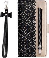 Portemonnee zwart goud wallet book-case rits hoesje Samsung Galaxy A50 / A30s