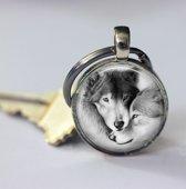 Twee Wolven liefde zwart wit sleutelhanger leuk voor wolf liefhebber