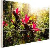 Prachtige tempel middenin de jungle Hout 80x60 cm - Foto print op Hout (Wanddecoratie)