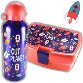 Ruimte en Raket broodtrommel + aluminium drinkfles Blauw   Lunchbox Space jongen LS06