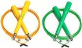 #DoYourFitness - 2x Speed Rope - »Rapido« - Springtouw met stalen kabel - 300 cm - geel & groen