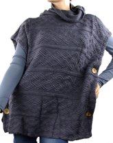 Turtleneck trendy poncho blauw/grijs - Acryl - 60 x 55 cm - S003-004 Dielay