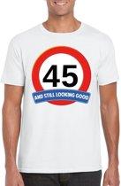 45 jaar and still looking good t-shirt wit - heren - verjaardag shirts 2XL