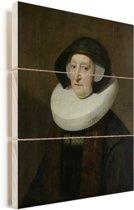 Portret van Maria Petitpas - Schilderij van Michiel Jansz van Mierevelt Vurenhout met planken 120x160 cm - Foto print op Hout (Wanddecoratie) XXL / Groot formaat!