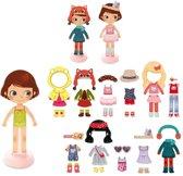 VILAC Aankleedpop Chloe van hout met magnetische kleding en accessoires.