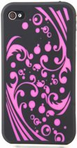 Zacht rubberen zwarte backcase met roze krullen voor iPhone 4 en 4S
