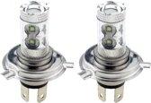 H4 autolamp set   LED koplamp 50 Watt   10-SMD xenonwit 6000K met lens   12-24V