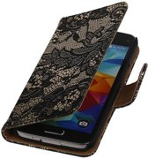 Samsung Galaxy S5 mini G800F Zwart | Lace bookstyle / book case/ wallet case Hoes  | WN™