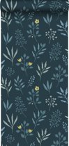 ESTAhome behang bloemmotief in Scandinavische stijl donkerblauw,