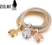 ZILOU Bedelarmbanden Set | Kristal - Goud, Rosé Goud & zilverkleurig