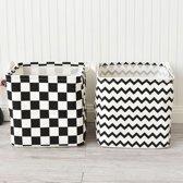2x opvouwbare wasmand - vierkant - zwart wit - katoen