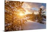 Een winterlandschap tijdens een zonsondergang Aluminium 30x20 cm - klein - Foto print op Aluminium (metaal wanddecoratie)