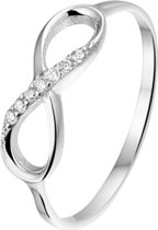 The Jewelry Collection Ring Infinity Zirkonia - Zilver Gerhodineerd