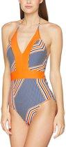 Cabana Life UV beschermend Badpak Dames Gestreept - Oranje/Blauw - Maat 44 (XL)