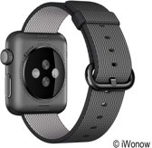Sport Linnen Horloge Bandje | Zwart |  Apple Watch 1, 2, 3 Series | 42 mm | © iWonow Quality