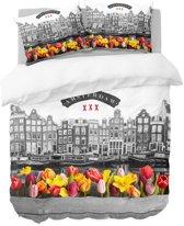 Nightlife Dekbedovertrek Amsterdam tulpen 140x200/220 - Polykatoen - Grijs