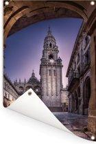 Nachtfoto van de kathedraal van Santiago de Compostella Tuinposter 80x120 cm - Tuindoek / Buitencanvas / Schilderijen voor buiten (tuin decoratie)