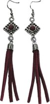 Statement Tassel/Franje Oorbellen - Bordeaux Rood - 10 cm - Fashion Favorite