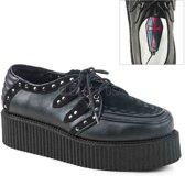V-Creeper-535 nep leren plateau unisex schoen met gevlochten detail, studs en vegan suede accenten zwart - (EU 36 = US 4) - Demonia