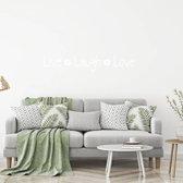 Muursticker Live Laugh Love Met Bloem -  Wit -  80 x 15 cm  - Muursticker4Sale