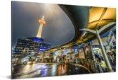 Het hoogste gebouw van Kioto in Japan tijdens de nacht Aluminium 180x120 cm - Foto print op Aluminium (metaal wanddecoratie) XXL / Groot formaat!