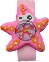 Fako Bijoux® - Kinderhorloge - Slap On Mini - Zeester - Roze