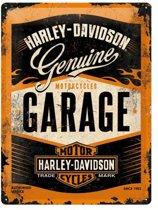 Harley-Davidson Garage. Retro reclame wandbord, Amerika USA, metaal.