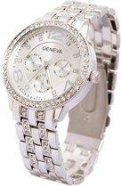 Geneva Dames Horloge - RVS -  Zilver & Kristal - Ø 40 mm