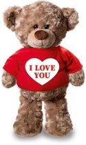 Valentijn - Knuffelbeer I love you met rood shirtje en hartje 24 cm - Valentijn/ romantisch cadeau