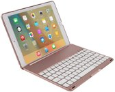CaseBoutique Bluetooth Keyboard Case - iPad 2018/2017/Air 1 Toetsenbord Hoesje - Rosé Goud - Aluminium Afwerking - QWERTY indeling