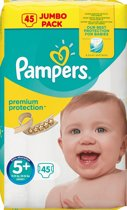 PAMPERS PREMIUM PROTECTION MAAT-5+ JUNIOR PLUS 13-25KG JUMBOPACK 45-LUIERS
