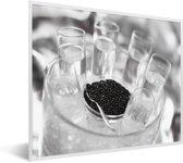 Foto in lijst - Glazen wodka met kaviaar fotolijst wit 50x40 cm - Poster in lijst (Wanddecoratie woonkamer / slaapkamer)