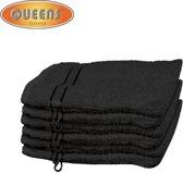 Queens® Washandje - 6-pack Washandjes 15x21 - 500 gr/m2 - Zwart