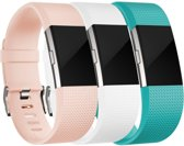 Mixed Bandjes voor FitBit Charge 2 – Wit / Turquoise / Roze – Small