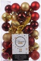 33x Rode/gouden kunststof kerstballen 3-4 cm - Mix - Onbreekbare plastic kerstballen - Kerstboomversiering rood/goud