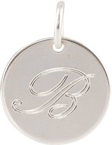 Lovenotes - Zilveren Hanger incl. collier Rond plaatje gravure letter B (14mm)