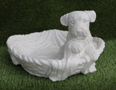 Tuinbeeld Hond met mand-Hoogwaardige kwaliteit-Perfect voor binnen of buiten-